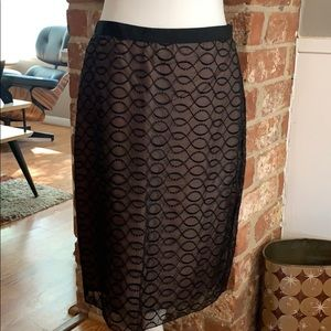 Black Sheer/lace Overlay Pencil Skirt